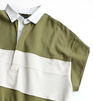 ラガーシャツフレンチスリーブロングワンピース