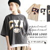 The college T-shirt of adult wearing it to T-shirt / print logo over size. Cotton ◆ apartment department (アパートメントデパートメント) relaxedly 100-percent-cotton lady's tops cut-and-sew short sleeves half-length sleeves: College logo big T-shirt