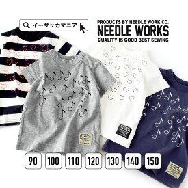 [キッズ] Tシャツ 90〜150 かすれたスタンプがお洒落♪ 味のあるプリントTシャツ。子供 女の子 男の子 319013 Stamp T- 【メール便可20】◆NEEDLE WORKS(ニードルワークス):Stampプリント 半袖カットソー[キッズ]