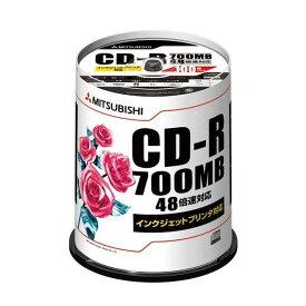 Verbatim 三菱化学メディアCD-R 700MB 4〜48倍速対応 100枚スピンドルケース入印刷可能ホワイトレーベル SR80PP100(2315193)