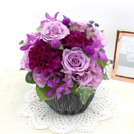 アレンジメント「La rose violette・M」 誕生日 結婚記念 フラワー ギフト 花 プレゼント お祝い 記念 贈り物 サプライズ 開店祝い 送別会 歓送迎会 新築祝い 発表会 冬 お歳暮 生花 季節限定