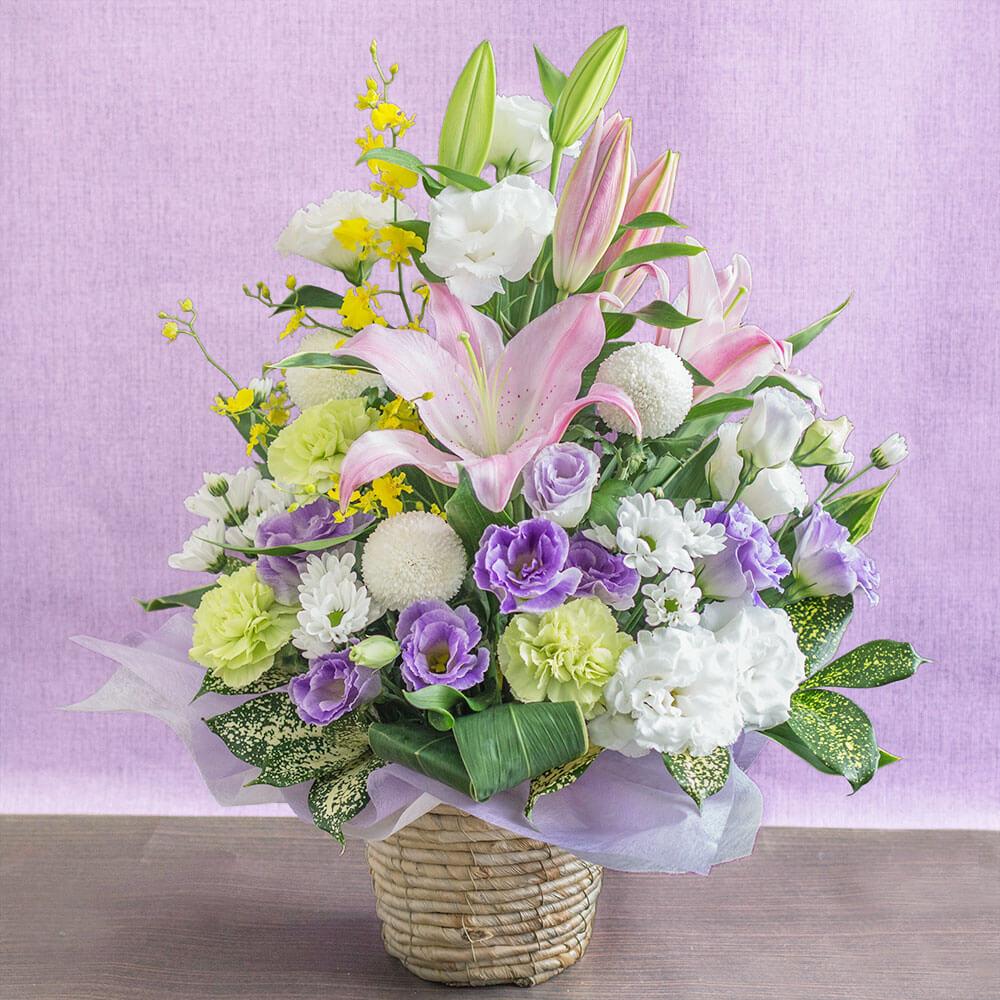 【お悔み・お供えの花】アレンジメント「紫雲〜想いをこめて〜」