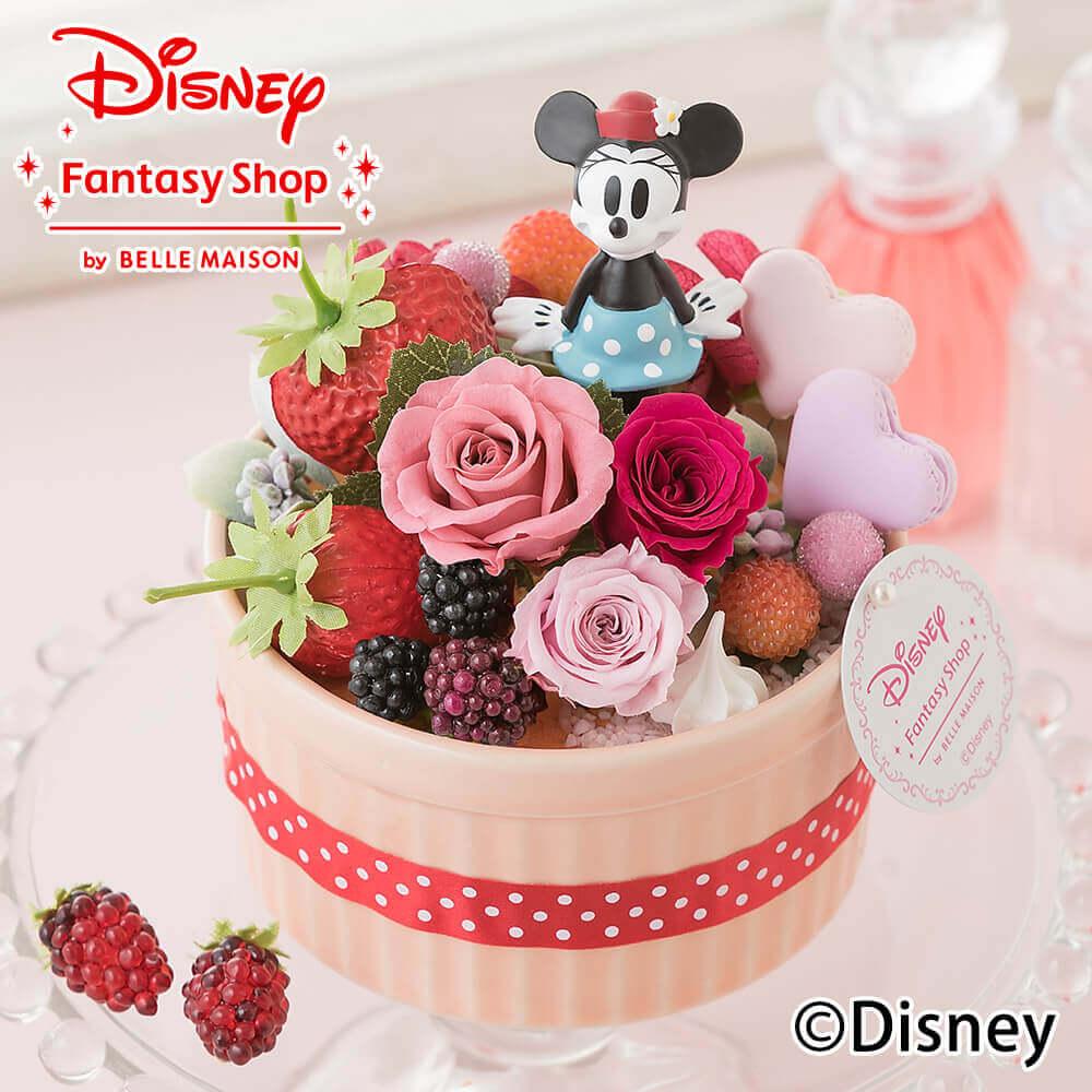【ディズニーフラワーギフト】【プリザーブドフラワー】「ハピネスcake〜ミニー〜」