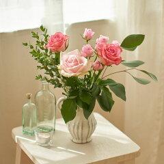 花束セット「フラワーベースセット(ピンクローズとユーカリ)」