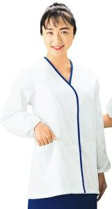 【大きいサイズ】白衣 襟無し 青ふち 長袖 〔抗菌〕〔制電〕【4L】