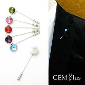 ラペルピン シンプル タックピン ピンズ ストーンKS45022【結婚式】【GEM plus】