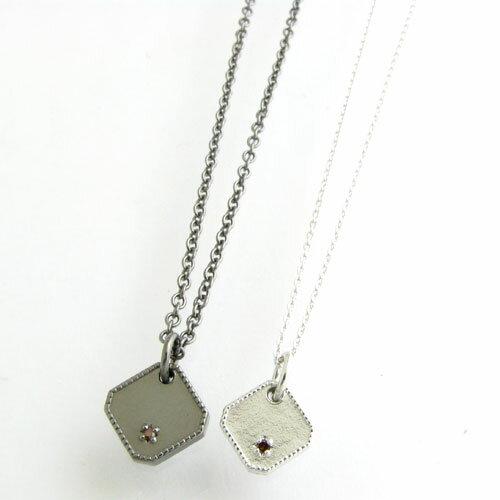 ペアネックレス close to me レッドダイヤモンド付き Black&Whiteスクエア シルバーペアネックレスSN13-155 156