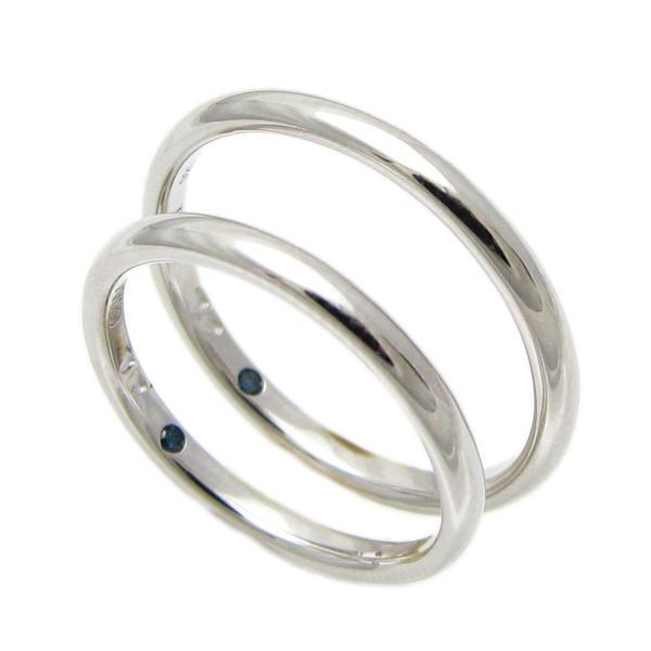 ペアリング シルバー close to me シンプル 四つ葉のクローバー ハート ブルーダイヤモンド 細い 指輪 SR14-023p