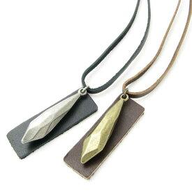 ネックレス しずく形 ドロップ レザーネックレスプレート レザーペンダント 革 アンティーク KN39041