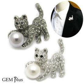 ブローチ メンズ レディース ネコ 猫 パール 真珠 ラペルピン GEM plus KS48006