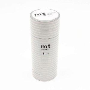 mt マスキングテープ 8P ボーダー・銀 MT08D391 【文具・玩具 レビュー投稿で次回使える2000円クーポン全員にプレゼント文具】