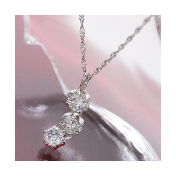 10000円以上送料無料 オールプラチナスリーストーンダイヤモンドペンダント/ネックレス ファッション ネックレス・ペンダント 天然石 ダイヤモンド レビュー投稿で次回使える2000円クーポン全員にプレゼント