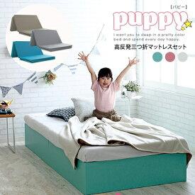 【代引不可】ベッド シングル マットレス付き フレーム カラフル 子供 キッズ 収納付き 大容量 シンプル おしゃれ 子供部屋 一人暮らし パピー/ シングルベッドpuppy 三つ折マットレスセット