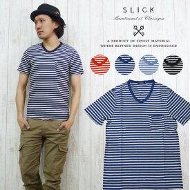 スリック SLICK Tシャツ 半袖 ボーダー Vネック