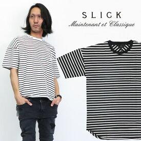 スリック SLICK MVSドロップショルダー ボーダー 半袖 Tシャツ ビッグシルエット オーバーサイズ SLK5255221