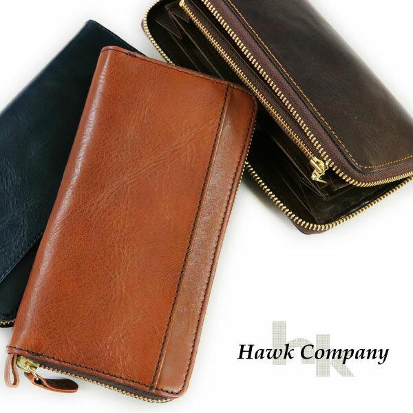 ホークカンパニー HAWK COMPANY ウォレット 財布 イタリアンレザー ロング ラウンドジッパー ポケット付き 7216 BR67465