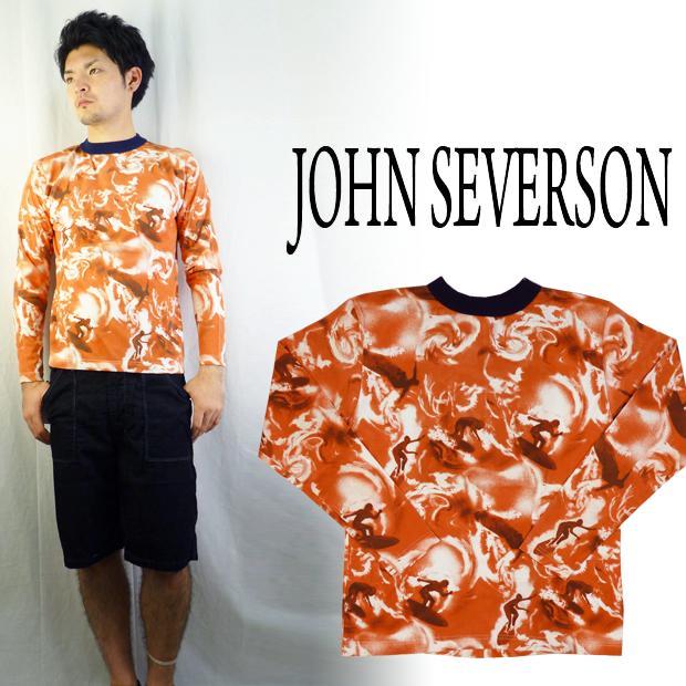 John Severson ジョンセバーソン 総柄プリントロングTシャツ