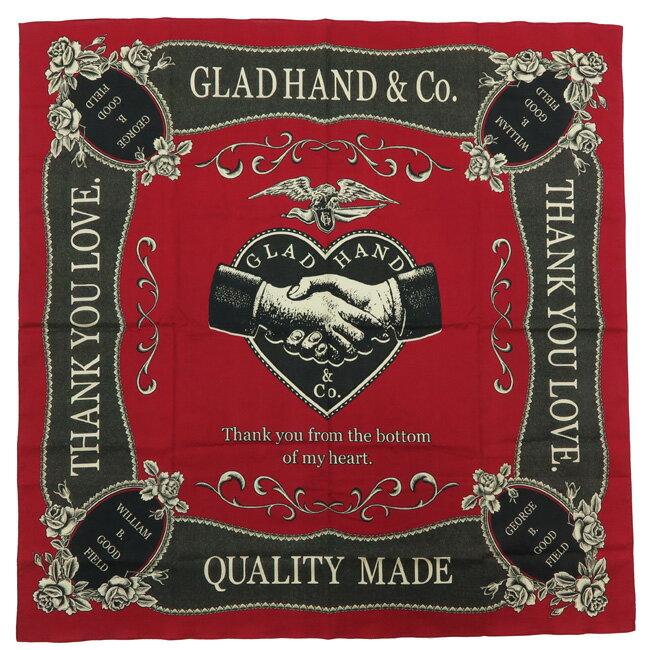 GLAD HAND グラッドハンド スカーフ ロゴ 90cm/90cm 【2019年 春夏 新作】