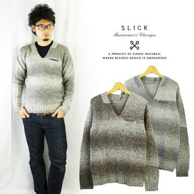 スリック SLICK グラデーションボーダーニットセーター