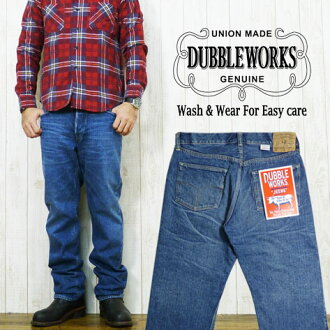 ダブルワークス DUBBLE WORKS ユーズドウォッシュ jeans regular straight jeans G bread denim