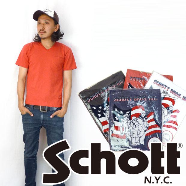 ショット Schott Tシャツ Vネック ポケット 無地Tee