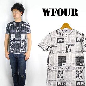 W4 더블 포 헨리 넥 옷 무늬 T 셔츠