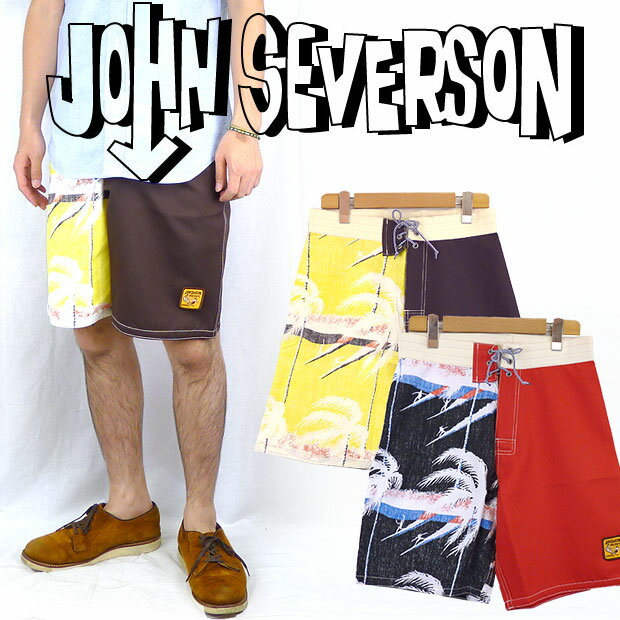 John Severson ジョンセバーソン 切替しサーフショートパンツ「ヤシの木」