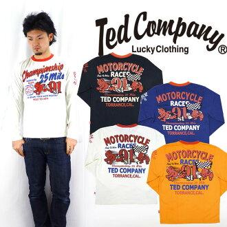 테드만 드 맨 즈 TEDMAN 'S 발 염 프린트 긴 소매 T 셔츠 「 MOTORCYCLE RACES 」