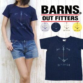 バーンズ BARNSTシャツ ネップ 天竺 プリント 「3227」 BR-5159F レディースサイズ