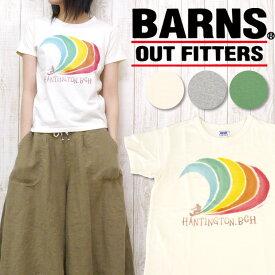 バーンズ BARNS Tシャツ ネップ 天竺 プリント 「HANTINGTON.BCH」 BR-5246F レディースサイズ