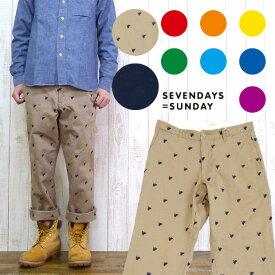 SEVENDAYS=SUNDAY セブンデイズ=サンデイ パンツ チノ 7分丈 クロップド 刺繍 エンブレム 32131F20010