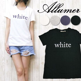 Allumer アリュメール レディース Tシャツ 半袖 プリント クルーネック 8241709
