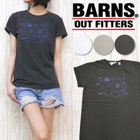 nrab BARNS Tシャツ 半袖 プリント 「MAP」 Made in USA USA製 コットン レディース NB-3316