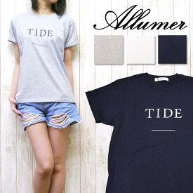 Allumer アリュメール レディース Tシャツ 半袖 プリント ロールアップ クルーネック 8246801