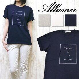 Allumer アリュメール レディース Tシャツ 半袖 プリント ロールアップ クルーネック 8246803