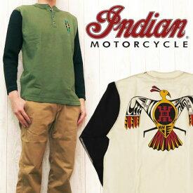 インディアンモーターサイクル Indian Motorcycle 長袖 ヘンリーネック Tシャツ ポリネシアン調 プリント IM63840