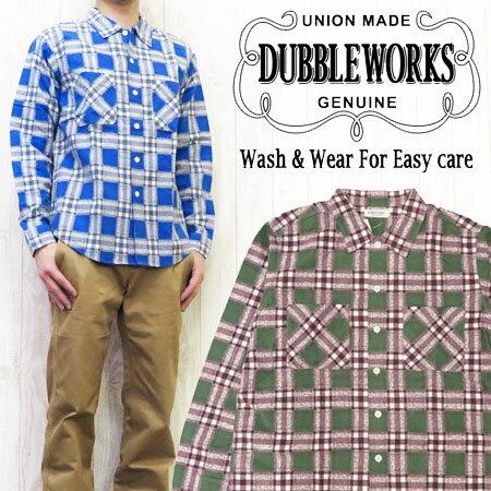 ダブルワークス DUBBLE WORKS フランネルシャツ 長袖 プリントチェック オープンカラー B柄 WW62003