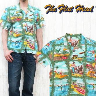 플랫 헤드 THE FLAT HEAD 하와이안 셔츠 반소매 픽처무늬 알로하 사이즈 40・42 F-SHO-001 S