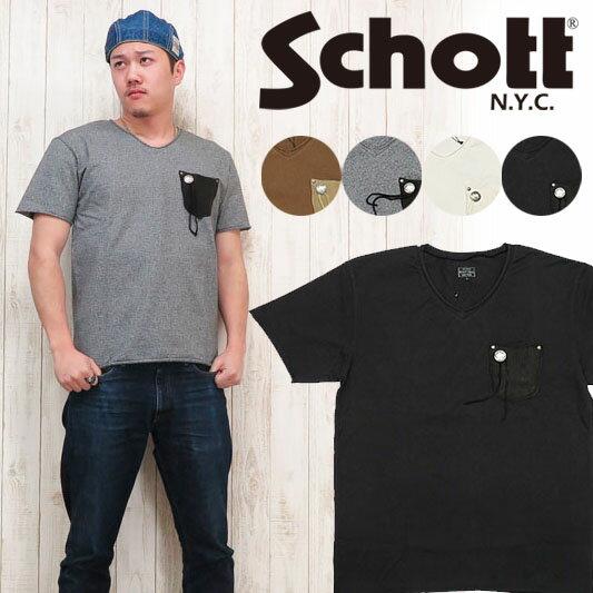 ショット Schott Tシャツ 半袖 レザーポケット カットオフ Vネック コンチョ SCH3173011