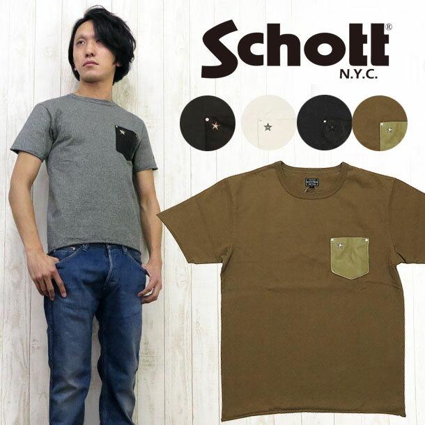 ショット Schott Tシャツ 半袖 レザーポケット ワンスター スタッズ 3163030