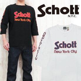 ショット Schott 5分袖 Tシャツ 70'S プリント 「SCHOTT NEW YORK CITY」 SCH3173034