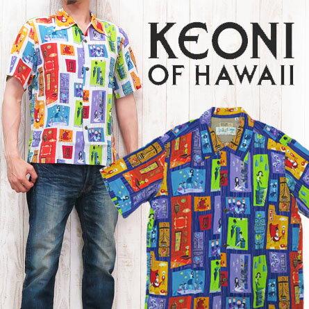 """サンサーフ SUN SURF 半袖 アロハシャツ ハワイアンシャツ """"TIKI PARADISE""""by SHAG KEONI OF HAWAII ケオニオブハワイ SS37654"""