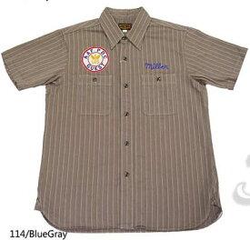 バズリクソンズ Buzz Rickson's 半袖 シャツ コントラクター ワーク ヘリンボーン ストライプ ワッペン 刺繍 br36574