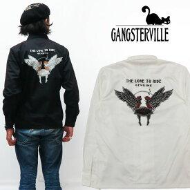 GANGSTERVILLE ギャングスタービル 長袖 ワークシャツ LOVE TO RIDE ワッペン プリント GLAD HAND グラッドハンド GSV-19-AW-23 【2019年 秋冬 新作】