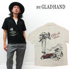 BY GLAD HAND バイ グラッドハンド 半袖 オープンカラー シャツ レーヨン/リネン PORTRAITS BYGH-20-SS-17