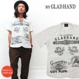 BY GLAD HAND バイ グラッドハンド バンドカラー 半袖 ドレスシャツ FOR SMOKING モノグラム 総柄 BYGH-20-SS-16 HIT