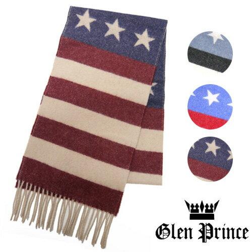 GLEN PRINCE グレンプリンス マフラー ウール 星条旗 ボーダー 星柄 SLS15 41024