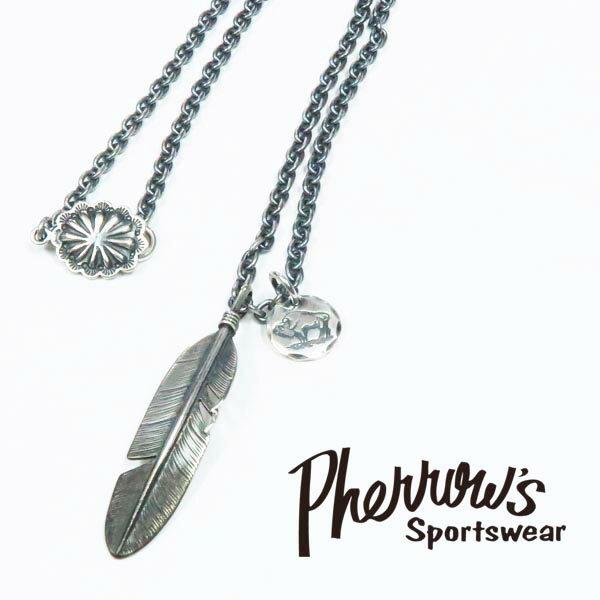 Pherrow's フェローズ フェザーヘッド シルバーネックレス シルバー925 ピースコラボ 16w-pp-feather