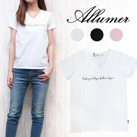 アリュメール Allumer プリント Vネック Tシャツ amr8241929
