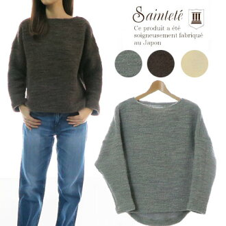 MADE IN JAPAN PW102 made in Saintete sun Tete Lady's long sleeves boat neck round knit plain fabric Japan